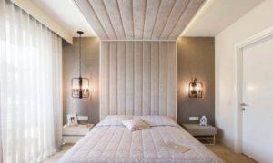 Кровать с изголовьем в потолок