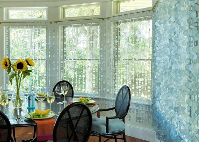 Нитяные шторы для кухни