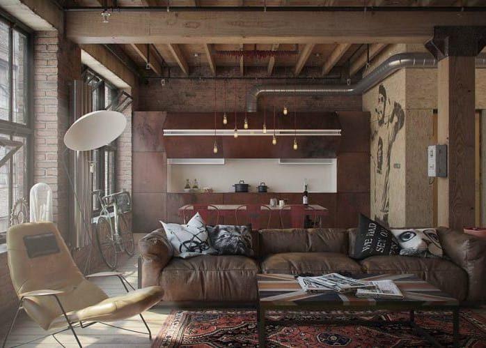Дизайн потолка кухни в стиле лофт