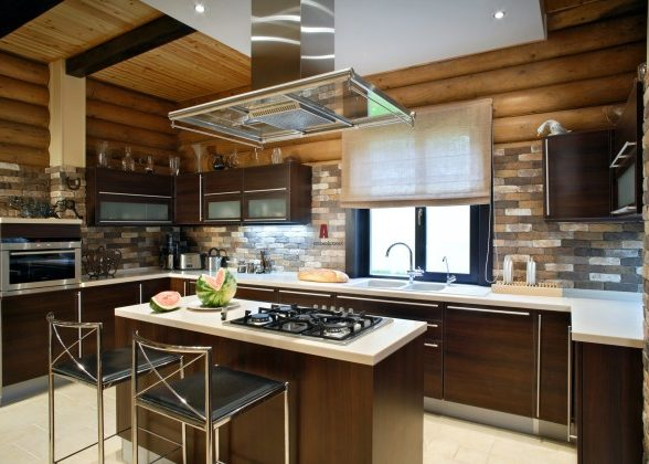 Декорирование кухонного потолка в стиле модерн