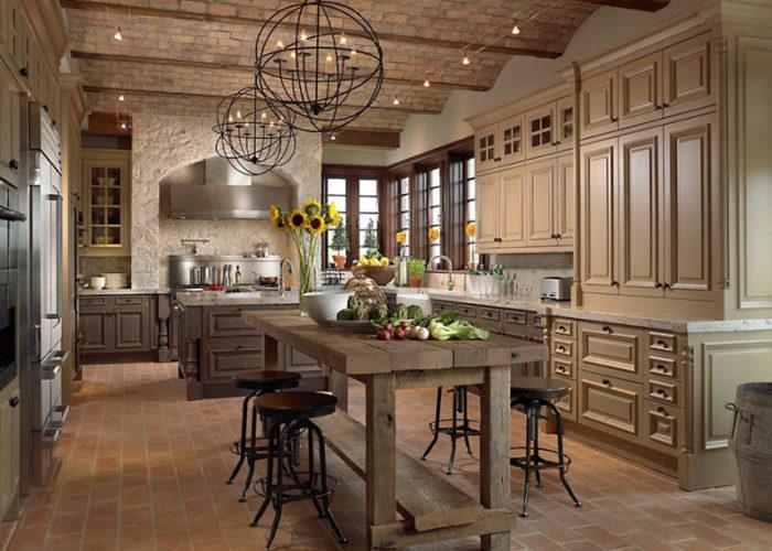 Дизайн потолка кухни в стиле прованс