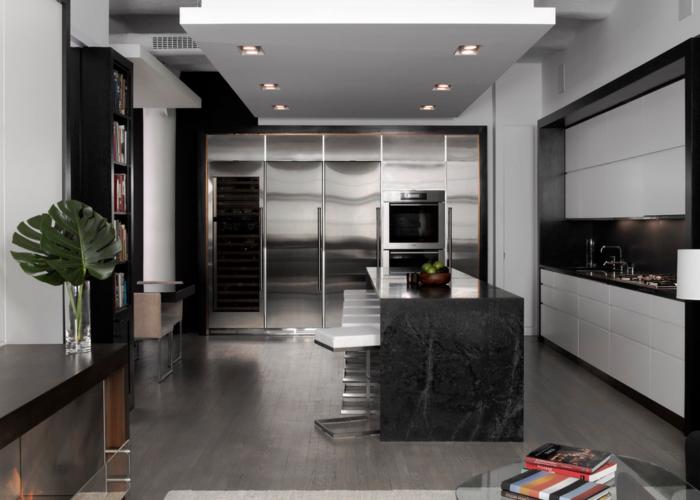 Дизайн потолка кухни в стиле хай-тек