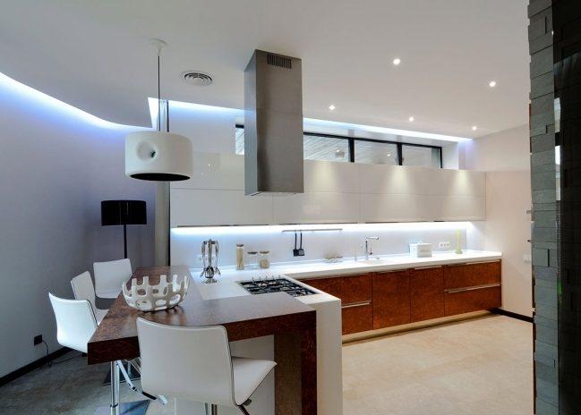 Барная стойка для кухни в стиле хай-тек
